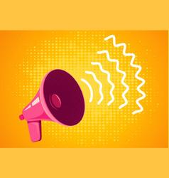 Retro megaphone on yellow background vector