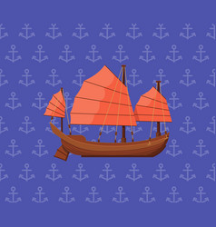 Sailing poster with ancient oriental boat vector