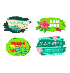 sale summer discount label collection big sale set vector image