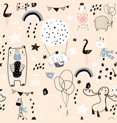 Seamless childish pattern with cute hand drawn vector