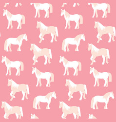 Seamless pattern of beautiful horses in pastel vector