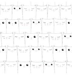 Seamless pattern with cute cats Elegant thin line vector