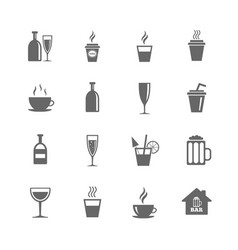 Set of drinks beer and cocktails icons vector