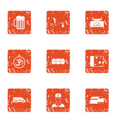 Sip icons set grunge style vector
