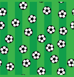 soccer balls on green lawn of football field vector image