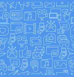 social media seamless pattern with thin line icons vector image