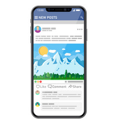 social network interface template on smartphone vector image