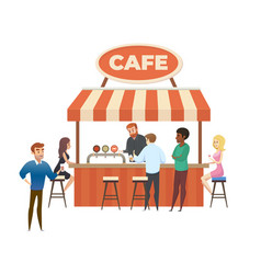 street cafe local bar with visitors flat vector image
