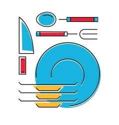 Tableware icon plates fork spoon knife Line vector image