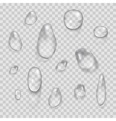 Transparent water drops set isolated on vector image