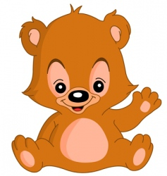 waving teddy bear vector image