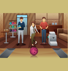 Young people playing bowling vector