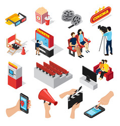 cinema elements icon set vector image