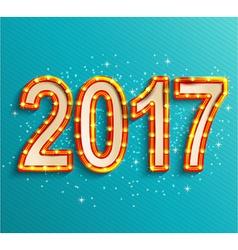 Happy new year 2017 shining retro light vector image