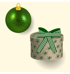 in green colors Christmas gift vector image vector image