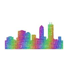 Jacksonville skyline silhouette - line art vector