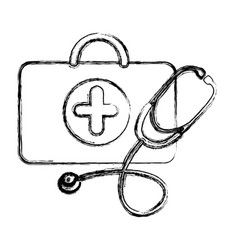 profile suitcase health with stethoscope icon vector image vector image