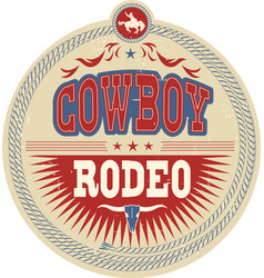 wild west rodeo label with cowboy text and vector image vector image