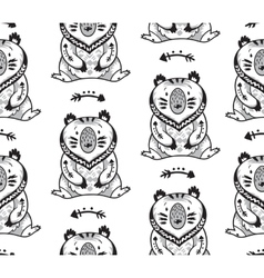 Black and white seamless pattern with bears vector image vector image