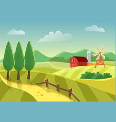 cartoon farm landscape field with farmers vector image