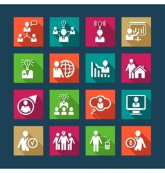 flat human resources icons vector image vector image