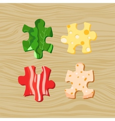 Food puzzles vector image