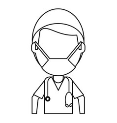 male surgeon medical professional thin line vector image