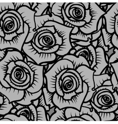 Seamless pattern of gray graphic quality roses vector image