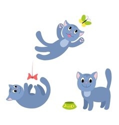 Set of happy cats 1 vector image vector image