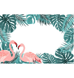 Tropical border frame turquoise leaves flamingo vector