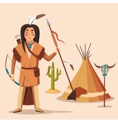 American or indigenous aboriginal indians with vector image