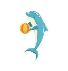Blue bottlenose dolphin holding ball for vector