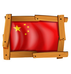 china flag in square frame vector image vector image
