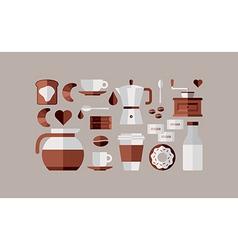Coffee breakfast icons vector image vector image