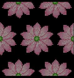 cross stitch lotus seamless pattern vector image vector image