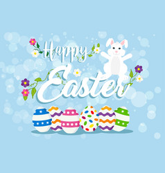 easter greeting card of happy rabbit and eggs vector image