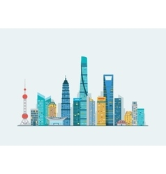 Shanghai abstract skyline vector image vector image