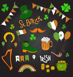 st patrick s day holiday design elements set vector image vector image