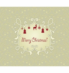 vintage pattern with christmas greetings vector image
