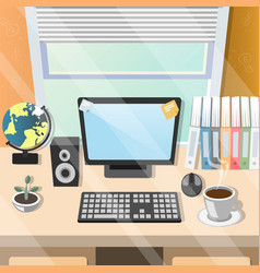 workplace home table with office tools vector image