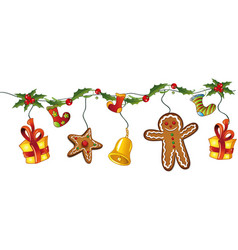 Christmas decoration holly vector image