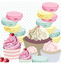 Cupcakes and macaroons on dotted retro background vector