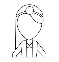doctor female with head mirror and coat thin line vector image