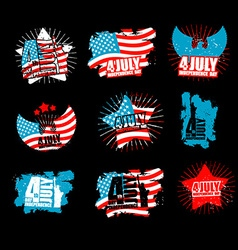 Independence Day set sign in grunge style Star and vector image vector image