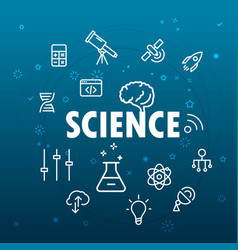 science concept different thin line icons included vector image vector image