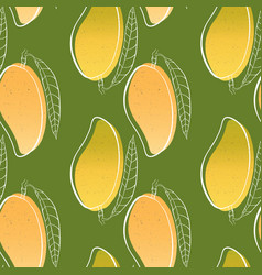 tropical seamless pattern with mango fruit vector image