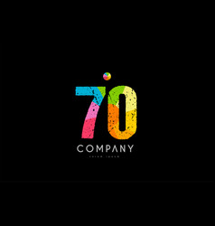 70 number grunge color rainbow numeral digit logo vector