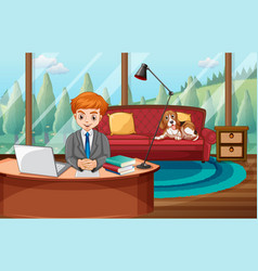 A man working from home vector