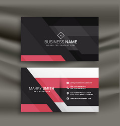 Abstract pink and black business card design vector
