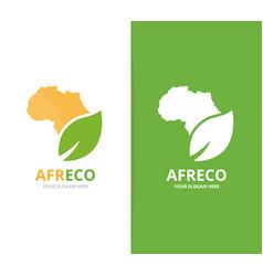 Africa and leaf logo combination safari vector